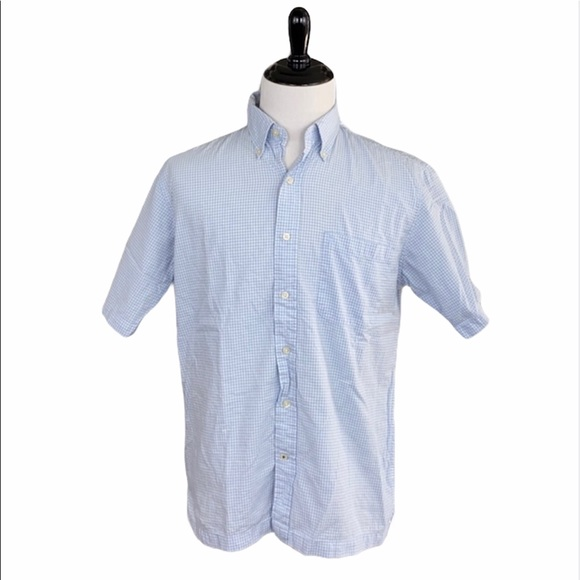 Izod Jeans Blue/White Checked Button Down Shirt